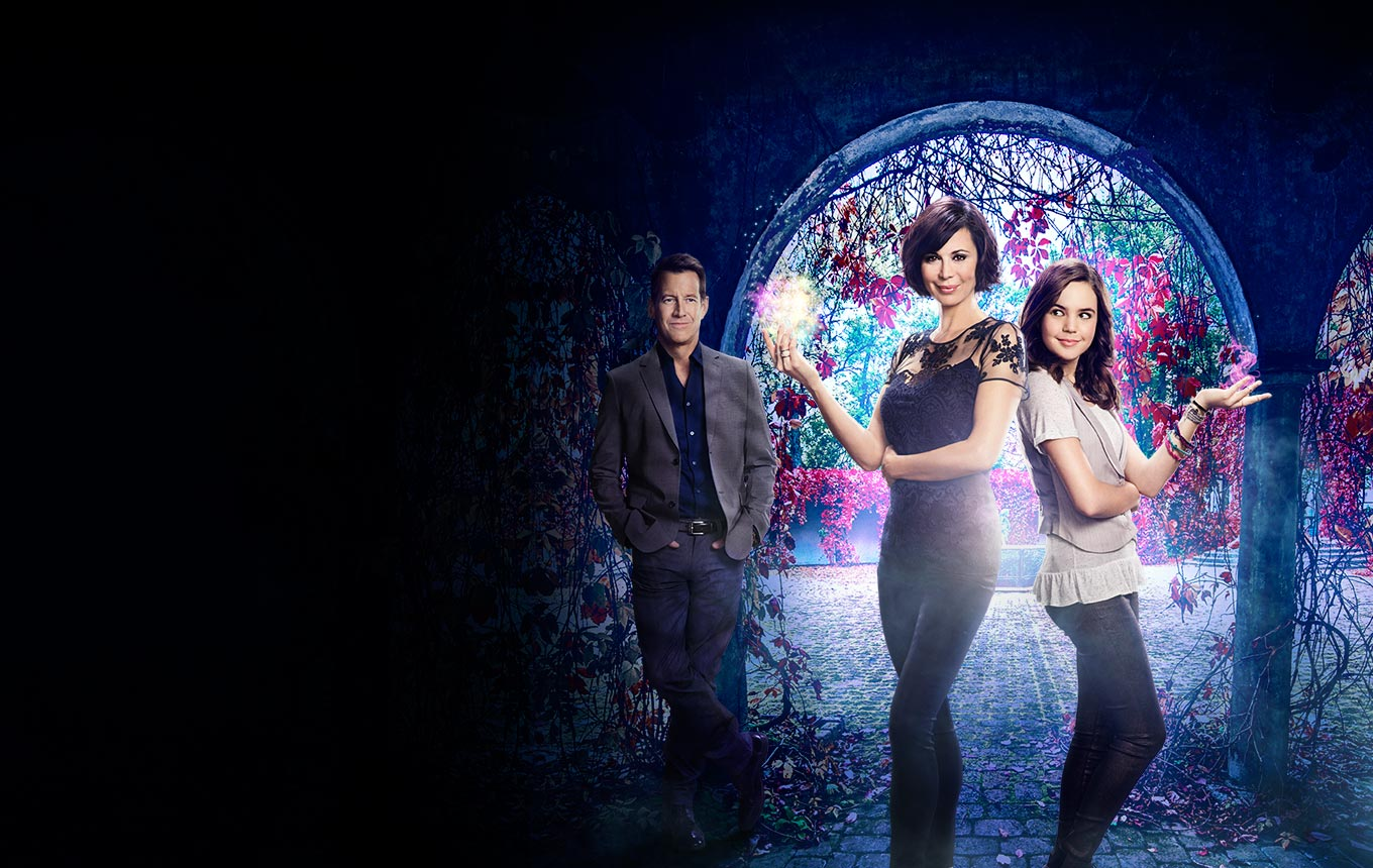 """Good Witch - <p>  <span style=""""background-color: initial;""""></span>Cassie Nightingale (Catherine Bell), Middleton's favorite enchantress,  and her young-teenage daughter Grace (Bailee Madison), who shares that  same special intuition as her mom, welcome Dr. Sam Radford (James  Denton) and his son to town. </p> <p>  <span style=""""background-color: initial;""""></span> </p>"""